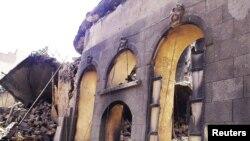 Сирија- Поглед врз оштетени згради во Дамаск