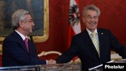 Президенты Армении и Австрии - Серж Саргсян (слева) и Хайнц Фишер, Вена, 11 июня 2014 г.