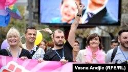 Boban Stojanović na Paradi ponosa u Beogradu