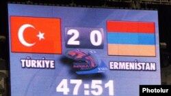 Turkey -- The scoreboard at Bursa's Ataturk Stadium during the Turkey-Armenia football match on October 14, 2009.