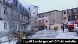 Пожежно-рятувальні підрозділи міста Судак на пожежі