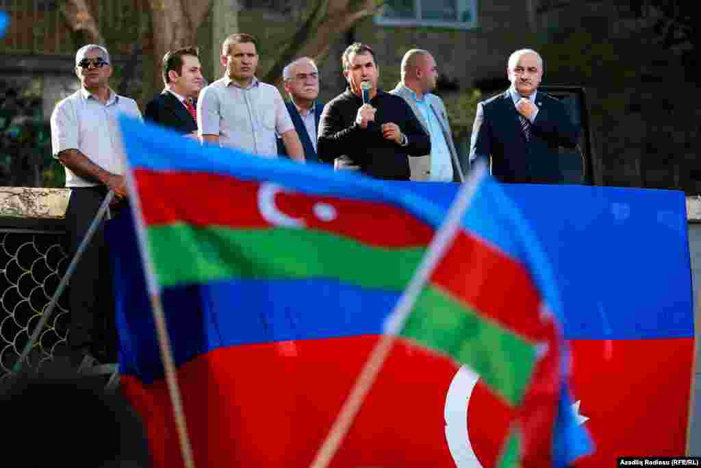 Azerbaijan. Baku. Protest action of opposition Musavat Party in Baku