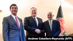 مایک پامپیو وزیر خارجه و مارک ایسپر وزیر دفاع ایالات متحده در شهر مونشن جرمنی در حایشه کنفرانس امنیتی با محمداشرف غنی رئیس جمهور افغانستان دیدار کردند