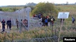 Венгрия -Сербия чек арасынын серб тарабында турган мигранттар. 15-сентябрь, 2015-жыл.