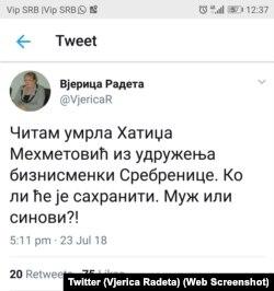 Tvit Vjerice Radete objavljen u ponedeljak 23. jula popodne, sa Tvitera je nestao u utorak tokom dana