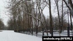 Частка парка вакол музэя Шмырова адгароджана плотам