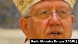 Serbia - Bishop Grigorije, Serbian Othodox Church (r) and bishop Stanislav Hocevar, Chatolic Church, combo photo, undated