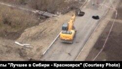 Провал на дороге в Красноярске