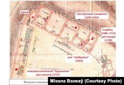 Схема першага паверху палаца паводле інвэнтароў 1650-1730-х гадоў