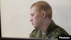 Armenia - Valery Permyakov, a Russian soldier accusef of murdering an Armenian family, stands trial in Gyumri, 12Aug2015.