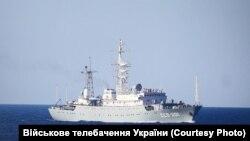 Разведывательный корабль «Приазовье» проекта «864» Черноморского флота России, во время спецоперации ВМС Украины в Азовском море