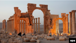 The Arch of Triumph was one of the most famous sites in Palmyra, which the IS extremist group captured in May.