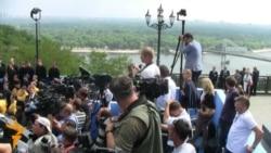 Ianukovici, Putin şi Timofti s-au rugat pe dealul Sf. Vladimir