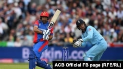 تیم کریکت افغانستان حین مسابقه با تیم کریکت انگلستان. 18 June 2019