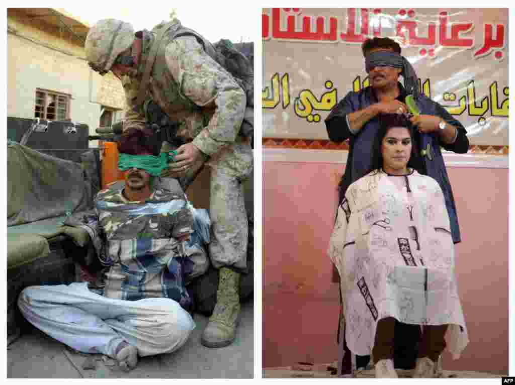Left: A U.S. marine blindfolds a suspected insurgent on November 12, 2004, in Fallujah. Right: A blindfolded Iraqi hairdresser competes on stage during a hairdressers' festival in Baghdad on February 9, 2013.