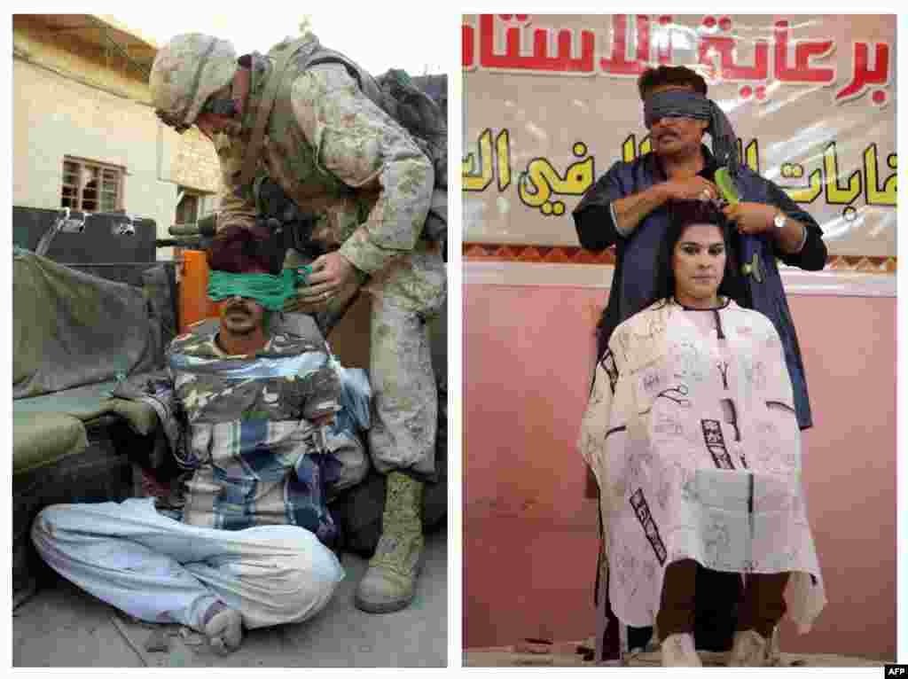 Сулда: 2004 елның 12 ноябрендә АКШ хәрбие сугышчы дип шикләнелгән бер кешенең күзен бәйли. Уңда: 2013 елның 9 февралендә Багдадтагы чәчтарашлар бәйгесендә сәхнәдә күзе бәйләнгән чәч кисүче.