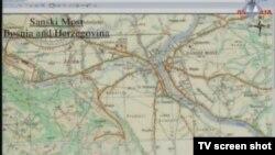 Mapa Sanskog Mosta prikazana u sudnici