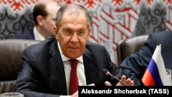 Russian Foreign Minister Sergei Lavrov on the sidelines of the 74th session of the UN General Assembly.