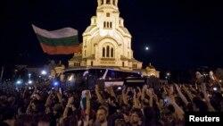 Pamje nga protestat e mbrëmshme në Sofje të Bullgarisë