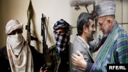 Iran has maintained contact with both the Taliban and the Afghanistan government. In the image on the right, Iranian President Mahmud Ahmadinejad (left) with Afghan counterpart Hamid Karzai.