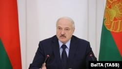 BELARUS -- Belarusian President Alyaksandr Lukashenka attends a meeting in MInsk, Ocober 9, 2020