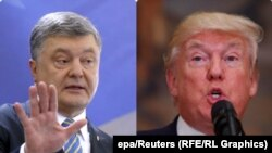 Ukrainian President Petro Poroshenko (left) is due to meet U.S. President Donald Trump at the White House on June 20. (combo photo)