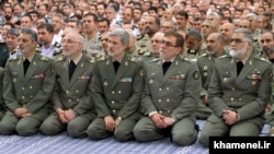 Iranian Army's top commanders in an meeting with Supreme Leader Ali Khamenei, on Wednesday April 19, 2017.