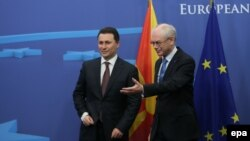Македонскиот премиер Никола Груевски и претседателот на Европскиот совет Херман ван Ромпуј, Брисел 09.12.2013.