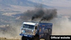 A Kamaz on the move in a rally race in January