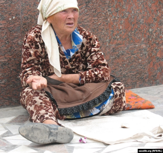 Despite Karimov's denial, beggars are a common sight on the streets of the capital.