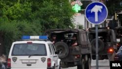 Macedonian police involved in the antiterrorist operation in Kumanovo.