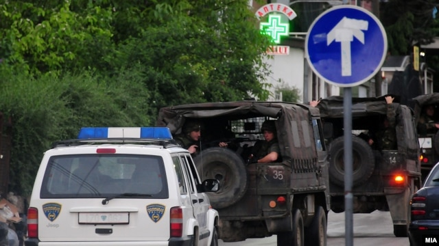 Macedonian police involved in the antiterrorist operation in Kumanovo.