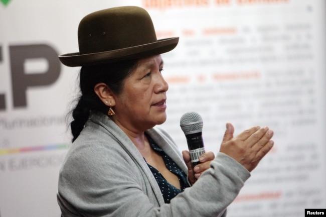 Мария Еухенсиа Чоке на брифинге для журналистов 25 октября