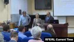 Катерина Тихонова на защите диссертации в МГУ