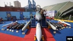 A Jf-17 Thunder, jointly developed by Pakistan and China, is displayed at the International Defense Exhibition And Seminar in Karachi in 2016.