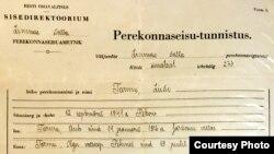 Свидетельство о рождении Лииви Тарму
