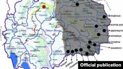 """Мапа на концесии за рудници во источна Македонија. Извор """"Еко-свест."""""""