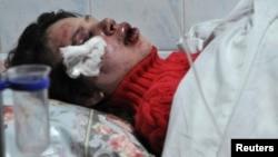 Журналистка Татьяна Чорновил в реанимации одной из клиник Киева. 25 декабря 2013 года.
