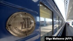A close view of a car of the first tourist train passing through Russia's Arctic regions to Norway as it prepares to leave Saint Petersburg for a 11-day trip with 91 passengers on board on June 5.