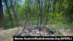 The remains of a Roma camp in Kyiv that was burned down by right-wing militants earlier this month.