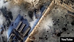 Талкаланган Донецк аба бекети. Асмандан тартылган сүрөт
