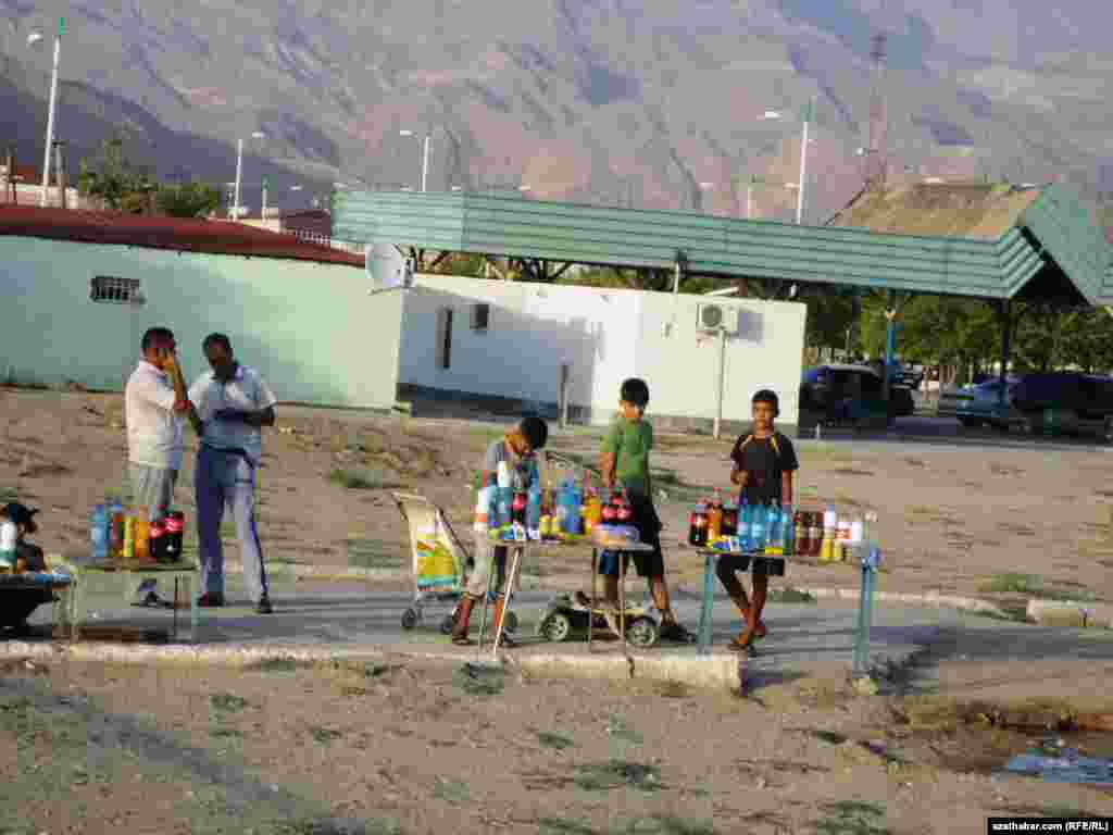 Young street vendors in Turkmenistan