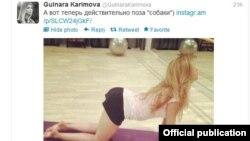 @GulnaraKarimovaнинг Twitterда эълон қилган ва муҳокамаларга сабаб бўлаётган суратларидан бири.
