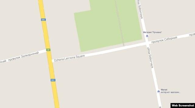 Площадь Джона Леннона в городе Изюм Харьковской области Украины на карте Google