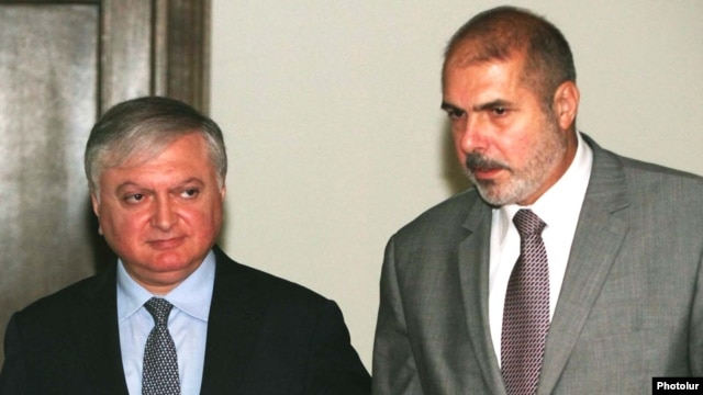 Armenia - Foreign Minister Edward Nalbandian (L) meets with Philippe Lefort, the EU's new special representative for the South Caucasus, 7Sept2011.