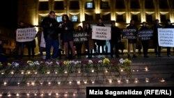 Акция протеста в Тбилиси с требованием расследовать обстоятельства смерти юноши, получившего ранение во время антитеррористической операции. 11 января 2018 года.