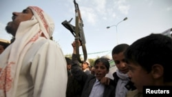 Прихильники угруповання Хуті в захопленій ним столиці Ємену Сані, фото 10 квітня 2015 року