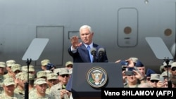 Georgia -- U.S. Vice President Mike Pence addresses servicemen participating in the joint multinational military exercise 'Noble Partner 2017' at an airbase outside Tbilisi on August 1, 2017.