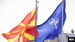 Македонско знаме и знаме на НАТО