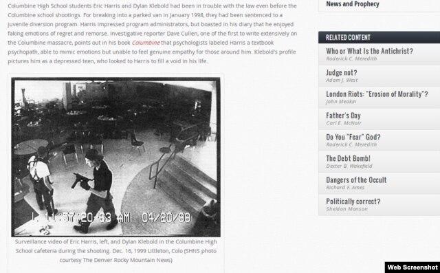 Təhlükəsizlik kamerası: Eric Harris (solda) və Dylan Klebold məktəbin kafeteriyasında (bomba partlayışından sonra). Az sonra özlərinə qəsd edəcəkdilər.